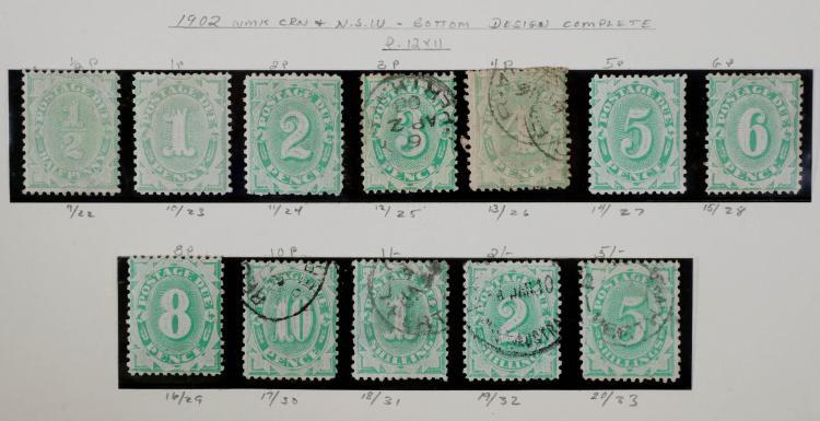AUSTRALIA, Postage Due, #9-20, used and unused