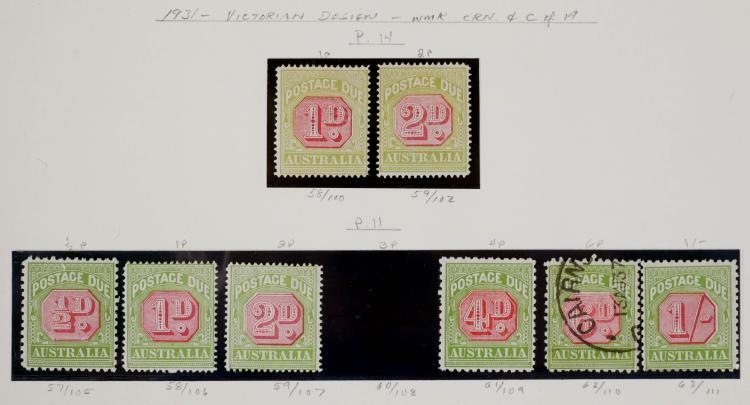 AUSTRALIA, Postage Due #57-59, 61-63, CV $640