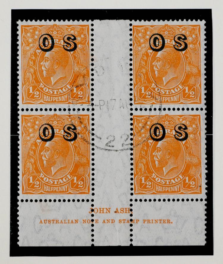 AUSTRALIA, 1932-33 1/2p Official Block of 4