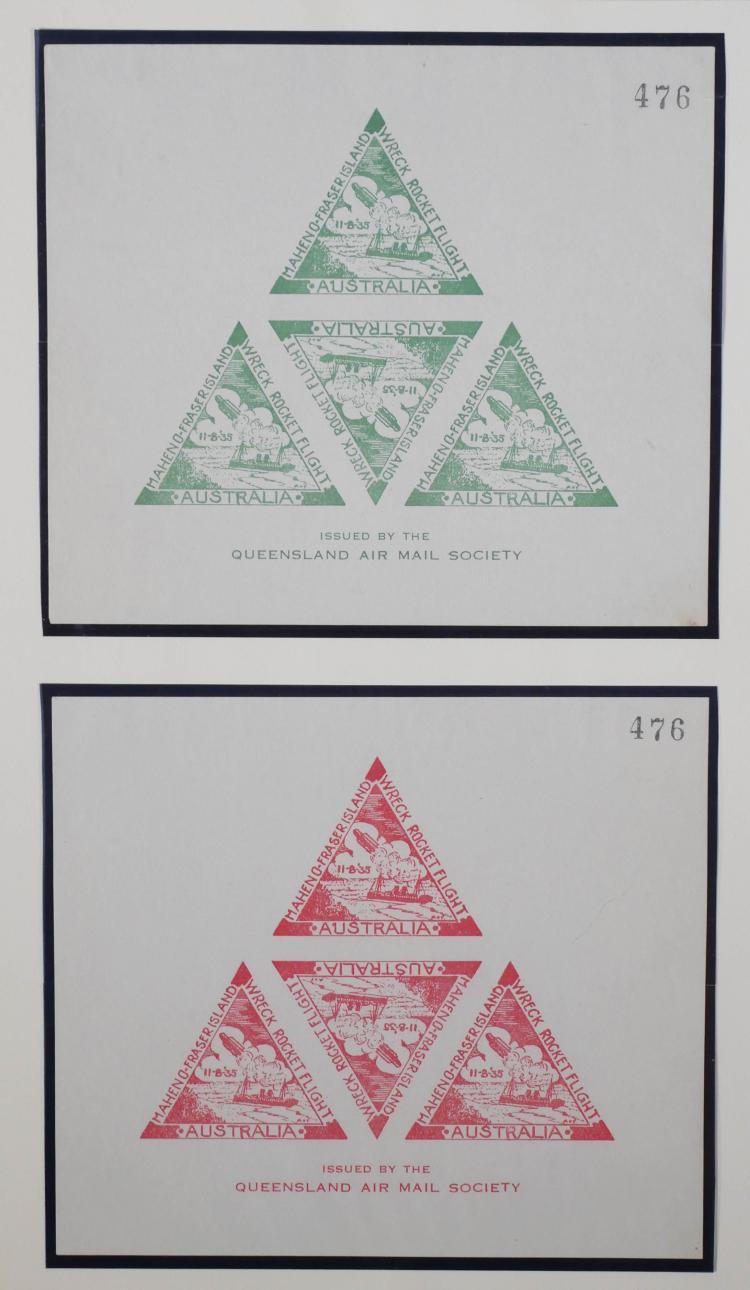 AUSTRALIA, 1935 Rocket Mail Sheets