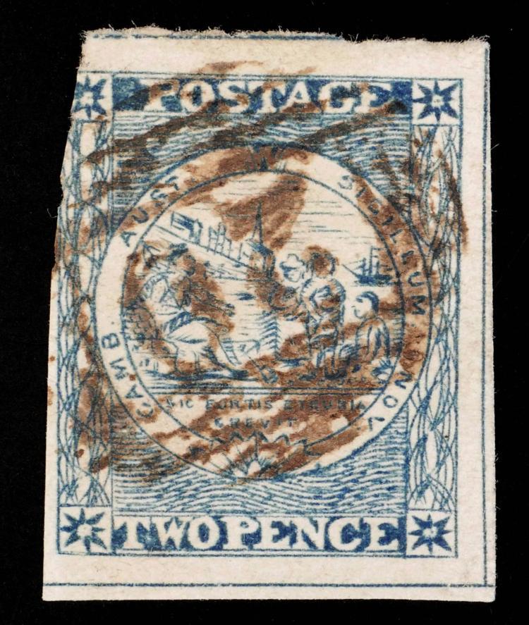 NEW SOUTH WALES, 1850 2p grey blue, #5h CV $375