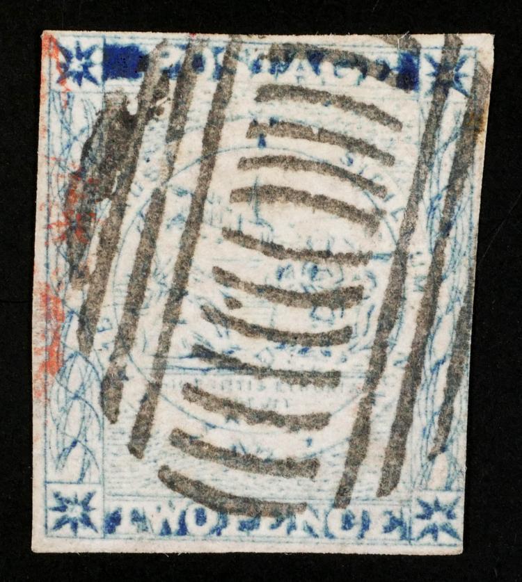 NEW SOUTH WALES, 1850-51, 2p blue, #6 CV $300