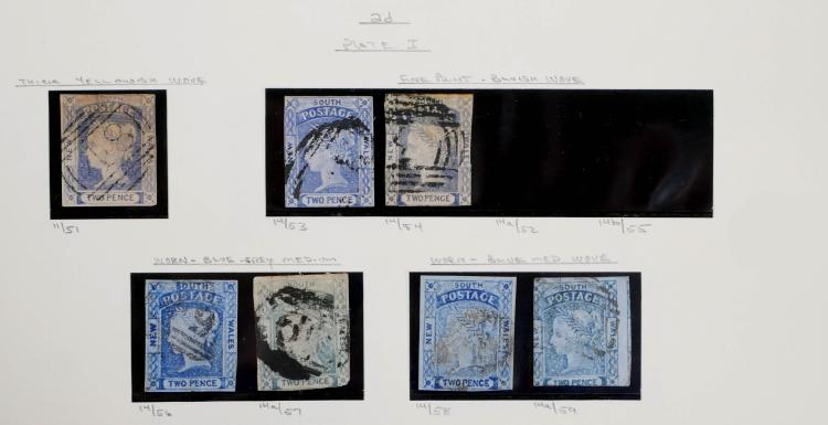 NEW SOUTH WALES, 1851, 2p #11, 14, 14a