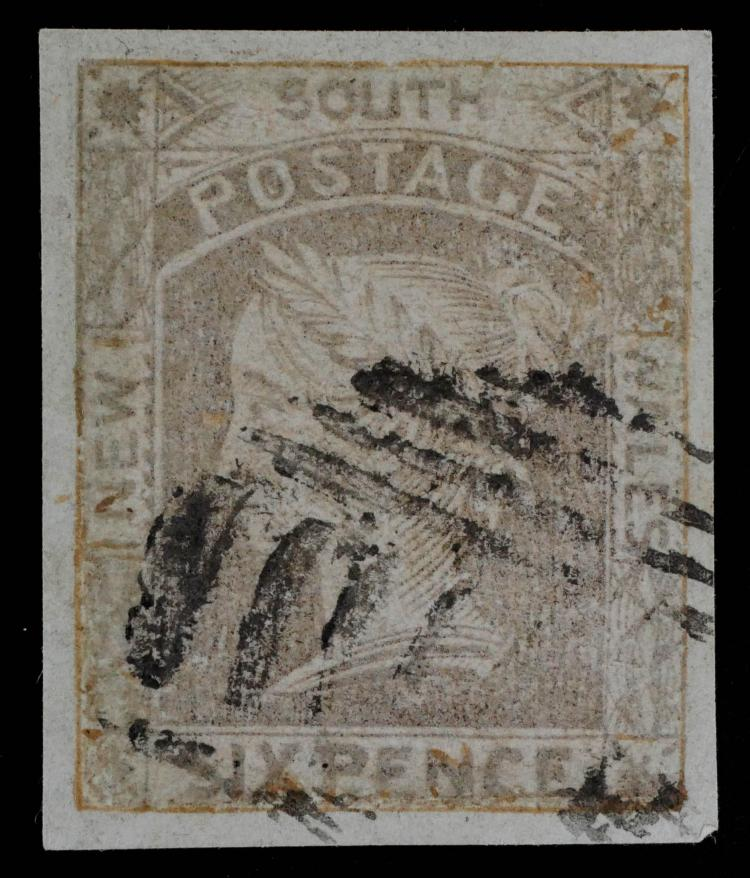 NEW SOUTH WALES, 1852-55, 6p brown, #18 CV $450