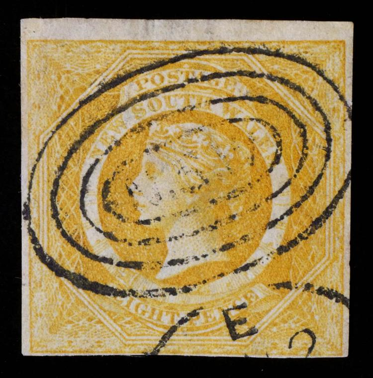 NEW SOUTH WALES, 1854-55, 8p yellow #30a CV $1,600