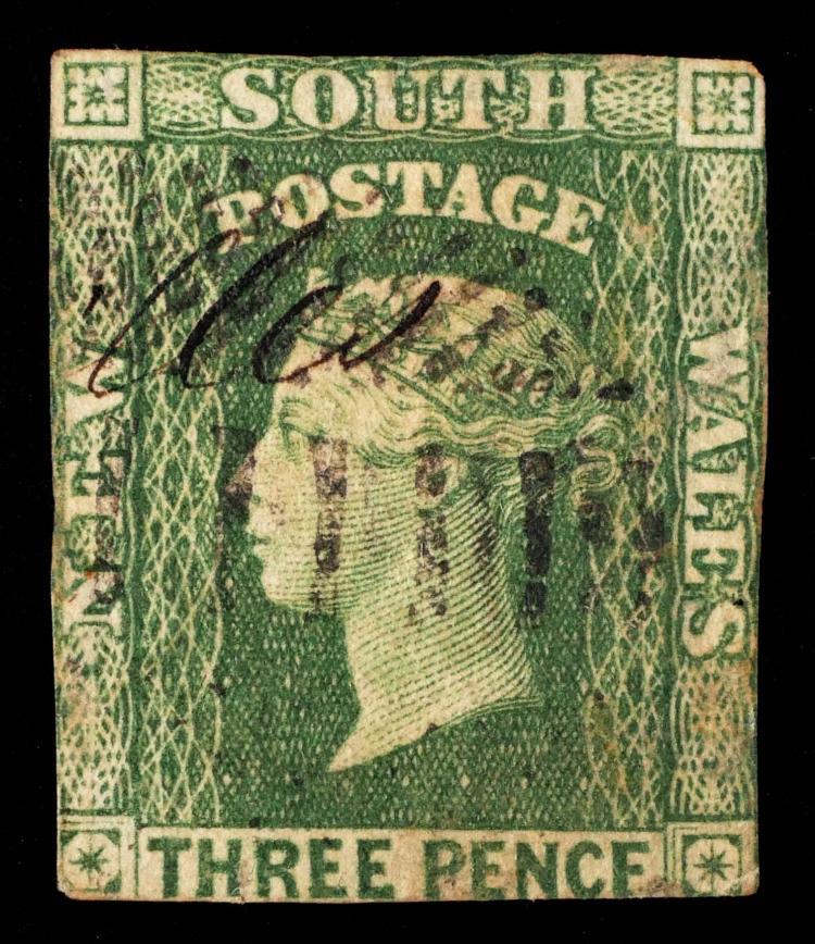 NEW SOUTH WALES, 1856 3p green CV $125
