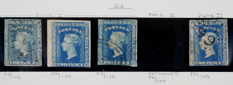 NEW SOUTH WALES, 1856, 2p blue, 4 examples
