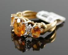 14K CITRINE RING W/ DIAMOND ACCENTS