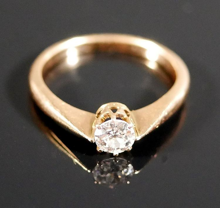 14K DIAMOND SOLITAIRE RING 1/2 CARAT