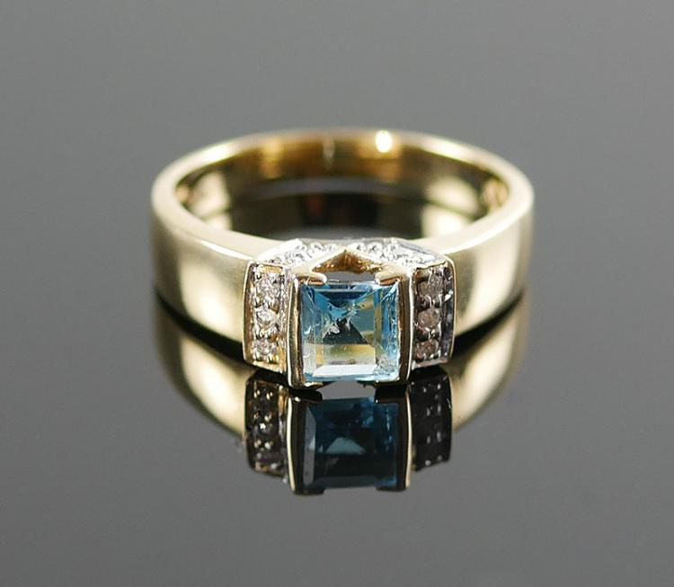 14K PRINCESS CUT BLUE TOPAZ RING W/ DIAMONDS