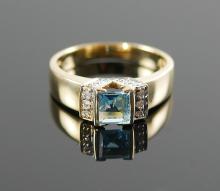 14K PRINCESS CUT BLUE TOPAZ RING W/ DIAMONDS