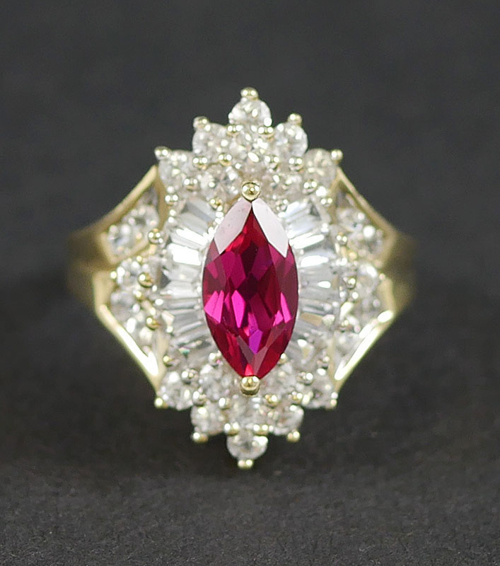 14K YG SAPPHIRE AND RUBY RING