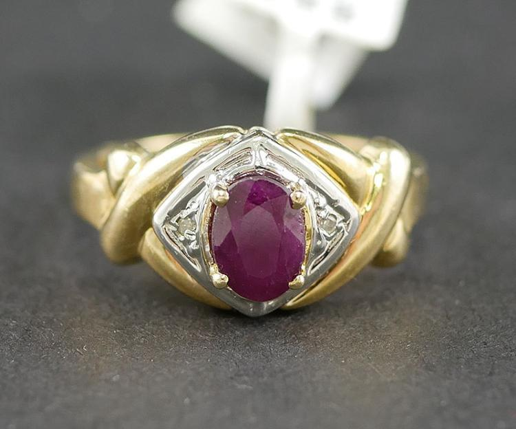14K  PINK TOPAZ AND DIAMOND RING