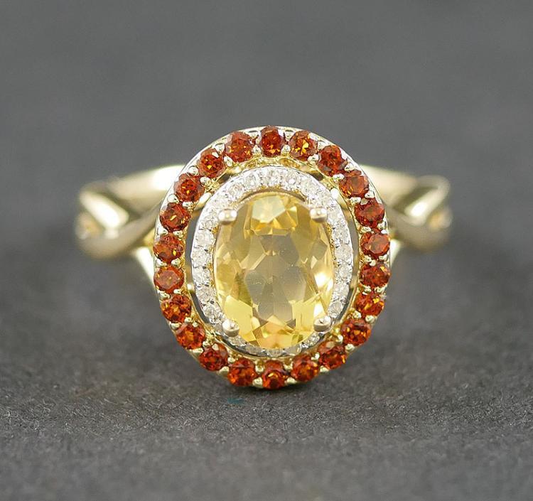 14K DIAMOND - CITRINE AND GARNET RING