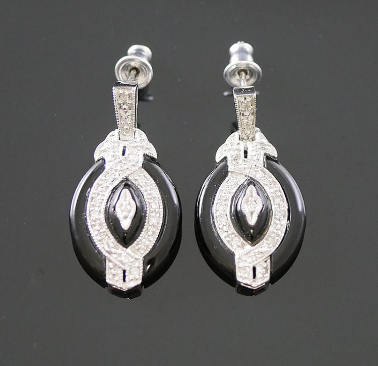 14K WG ONYX AND DIAMOND EARRINGS