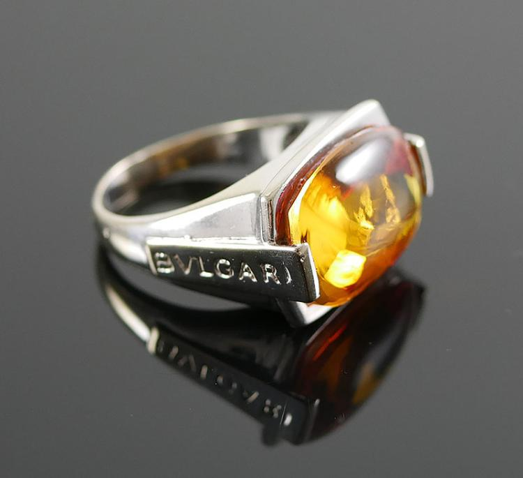 18K WG BULGARI CITRINE RING