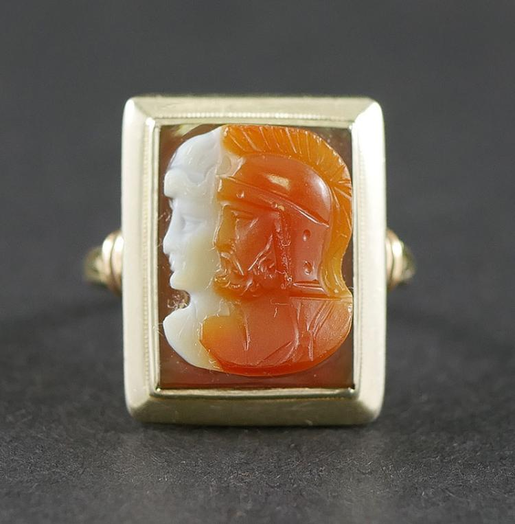 14K WHITE AND YELLOW GOLD CAMEO RING