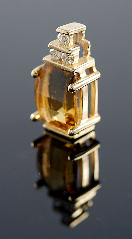 10K DIAMOND AND CITRINE PENDANT