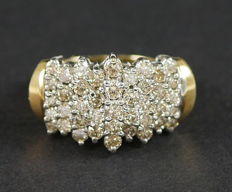14K YG DIAMOND CLUSTER RING 2.00 CARATS