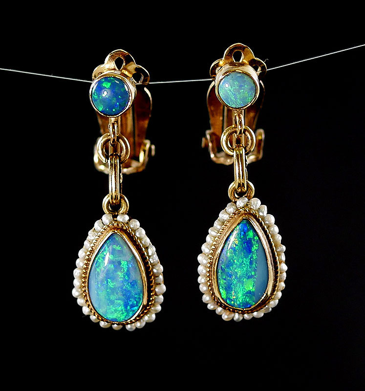 14K YG OPAL DANGLE EARRINGS