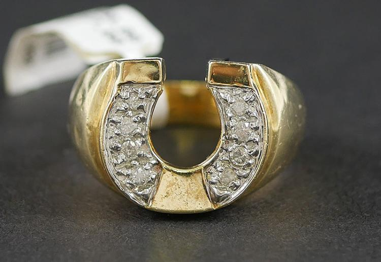 10K GOLD MANS LUCKY HORSESHOE DIAMOND RING