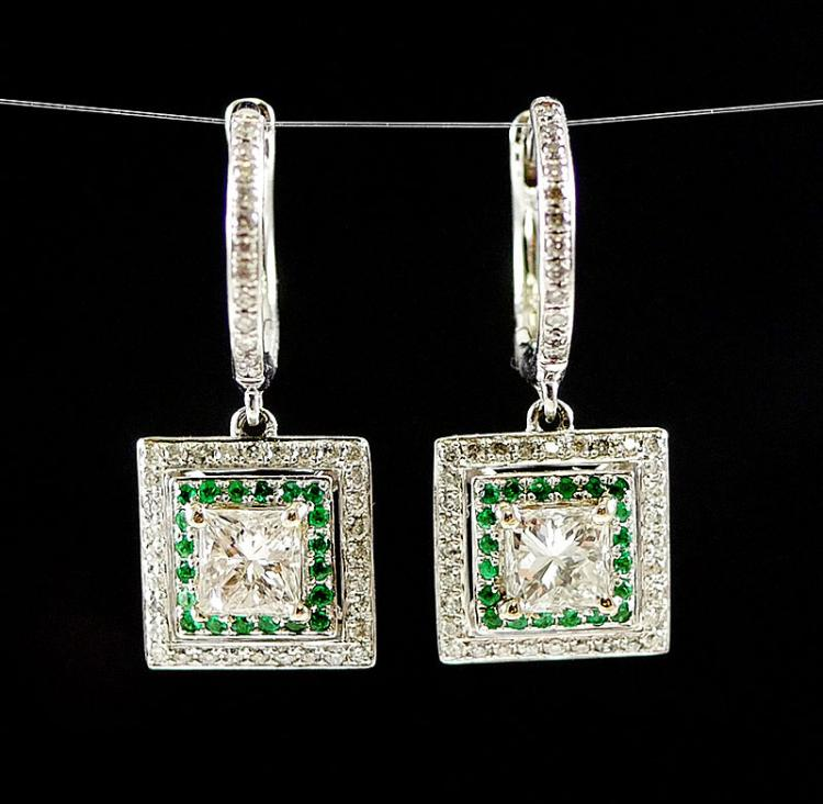 14K WG DIAMOND AND EMERALD EARRINGS