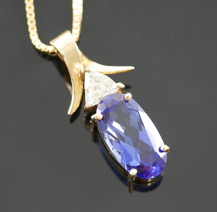 OUSTANDING TANZANITE AND DIAMOND NECKLACE