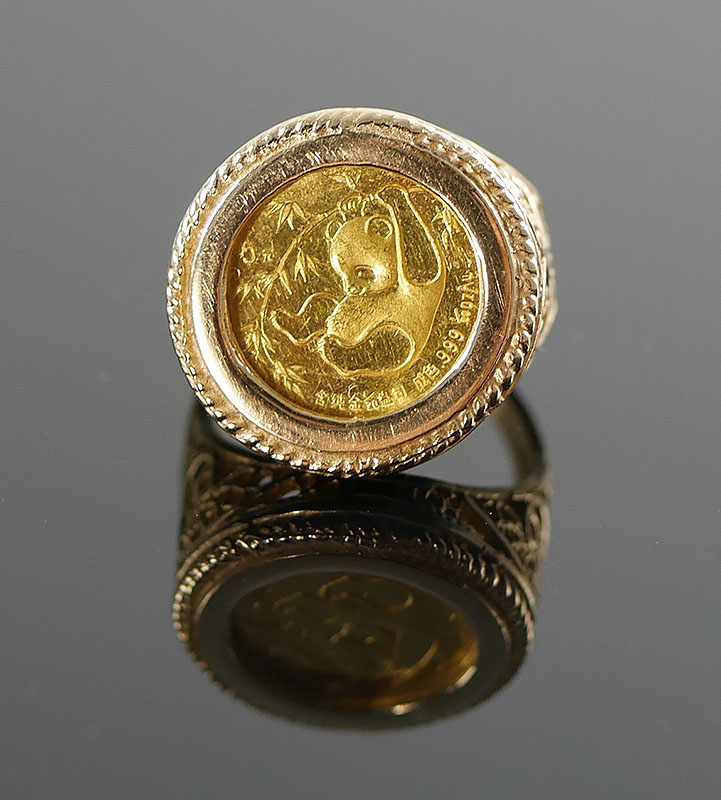 14K YG RING WITH A 1/20 PANDA COIN