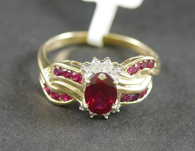 10K YG RUBY AND DIAMOND RING
