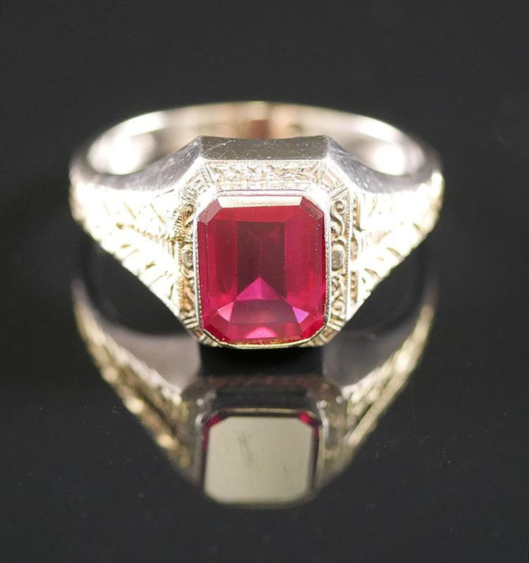MANS 14K 2 TONE RUBY RING