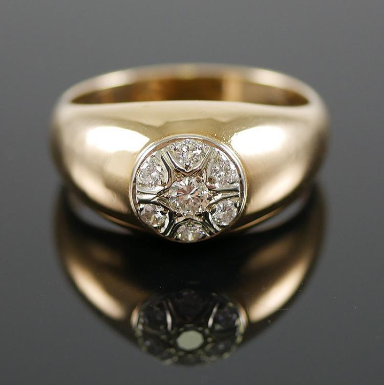 14K YG DIAMOND MANS RING