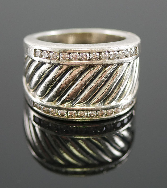 DAVID YURMAN CABLE CIGAR BAND DIAMOND RING
