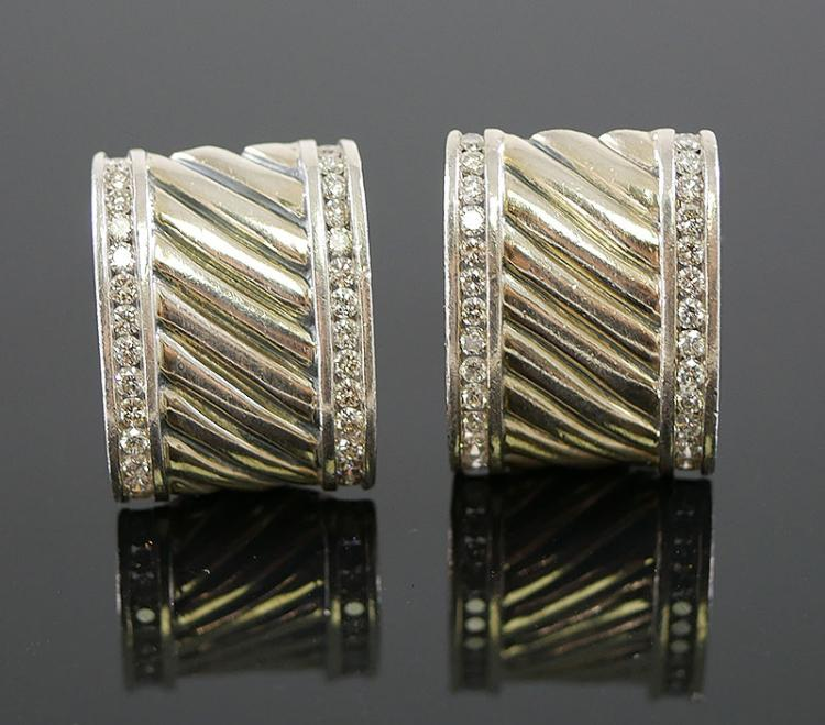 DAVIE YURMAN CABLE DIAMOND EARRINGS
