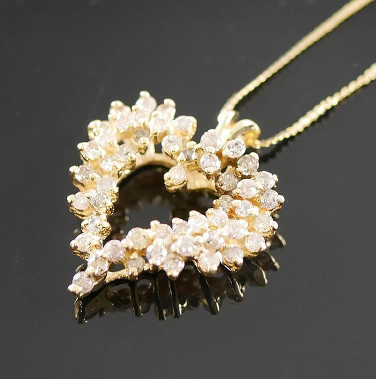 14K GOLD DIAMOND NECKLACE 1.00 CARAT
