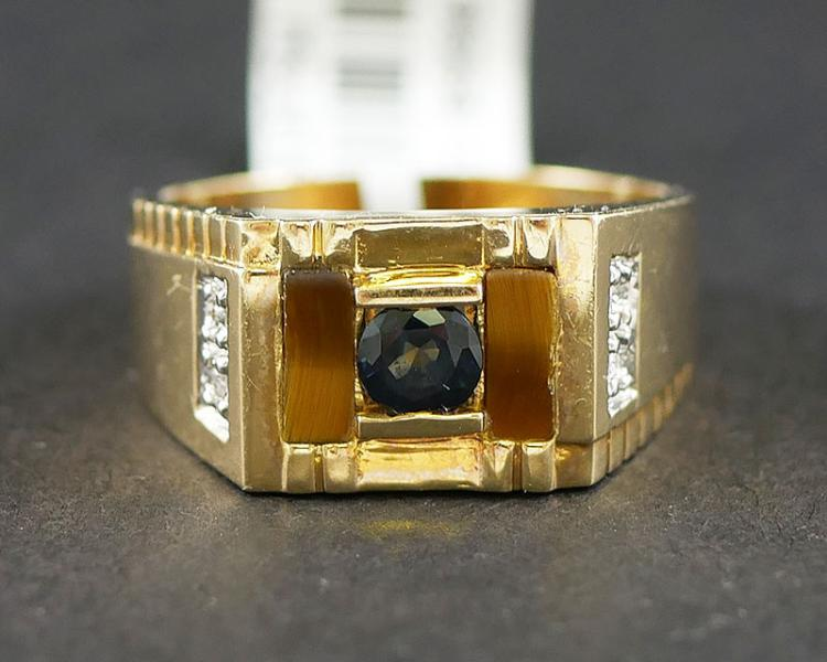 MANS 14K TOPAZ AND DIAMOND RING