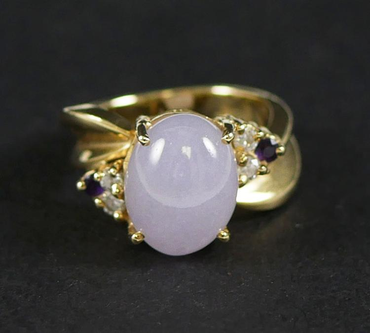 14K PURPLE JADE AND DIAMOND RING