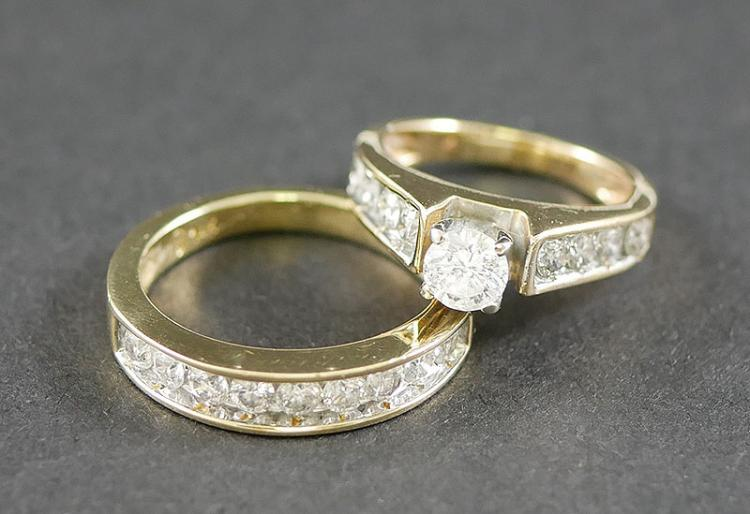 14K DIAMOND WEDDING SET 1.50 CARAT TOTAL