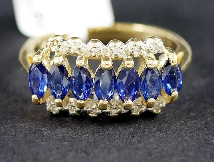 14K DIAMOND AND BLUE SAPPHIRES RING