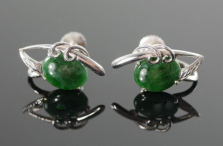 14K WG JADE EARRINGS