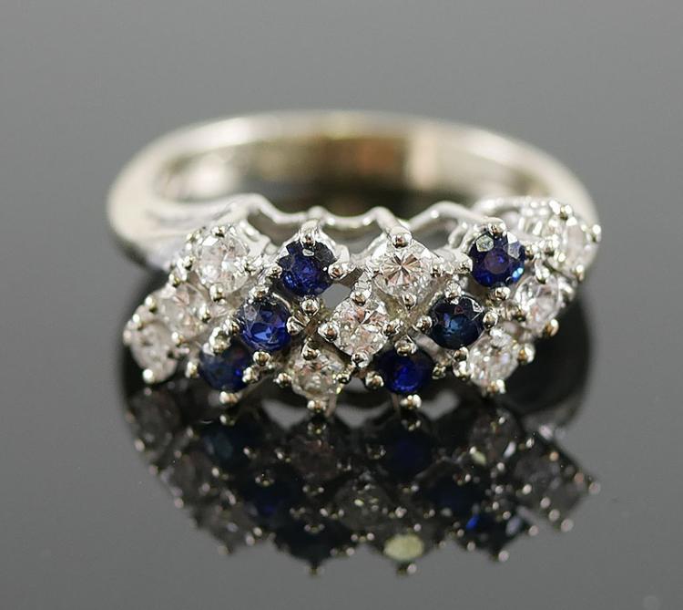 14K WG DIAMOND AND SAPPHIRE RING