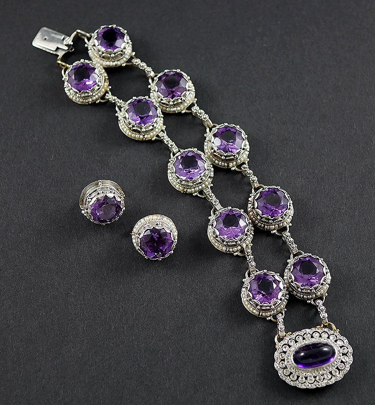 INCREDIBLE 14K AMETHYST AND DIAMOND SET