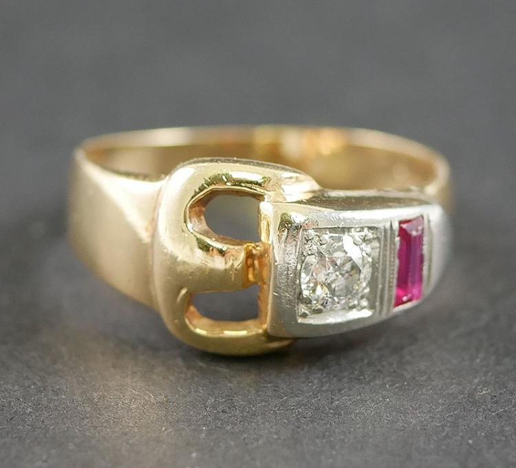 VINTAGE DECO 14K ROSE GOLD DIAMOND RING
