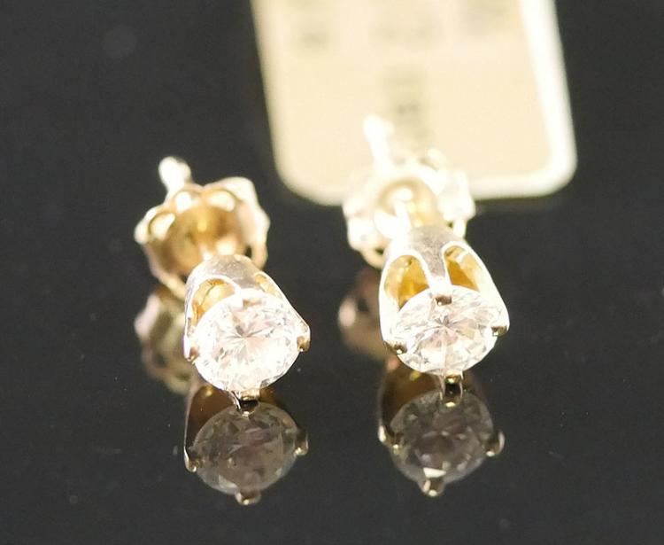 14K YG EARRINGS 1/2 CARAT