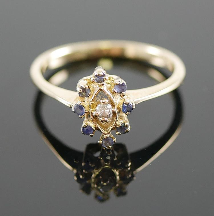 14K SAPPHIRE DIAMOND RING