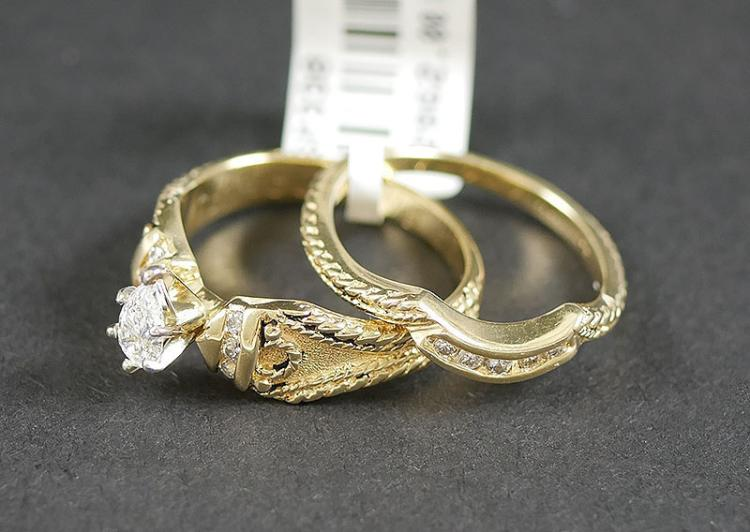 14K YG DIAMOND WEDDING SET