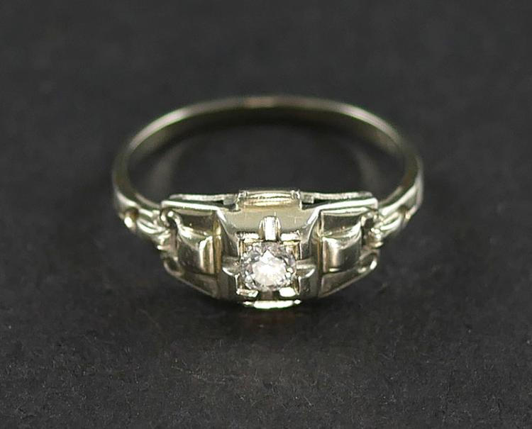 18K WG DIAMOND SOLITAIRE RING