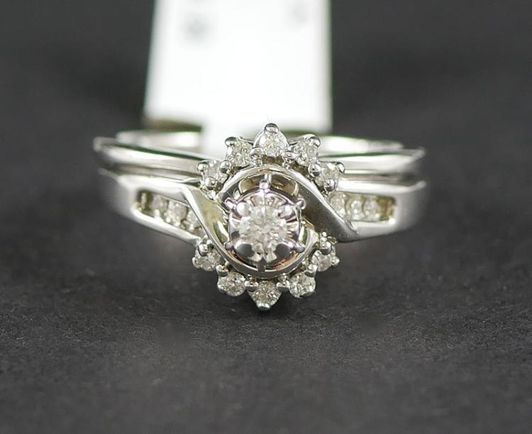 14K DIAMOND WHITE GOLD RING