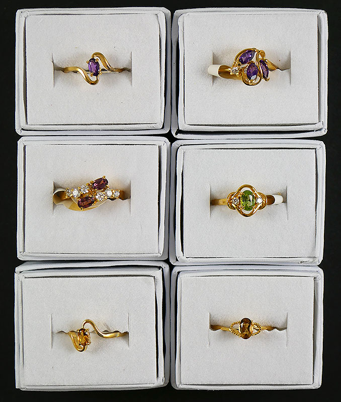 6- STERLING SILVER GEM STONE RINGS