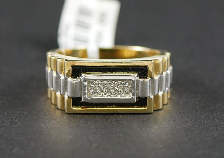 14K MANS ROLEX STYLE DIAMOND RING