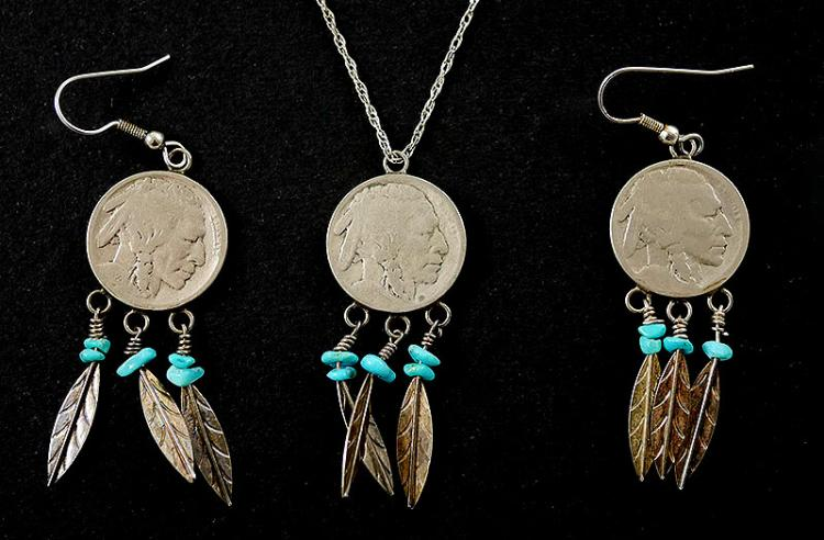 STERLING SILVER NAVAJO EARRINGS AND NECKLACE